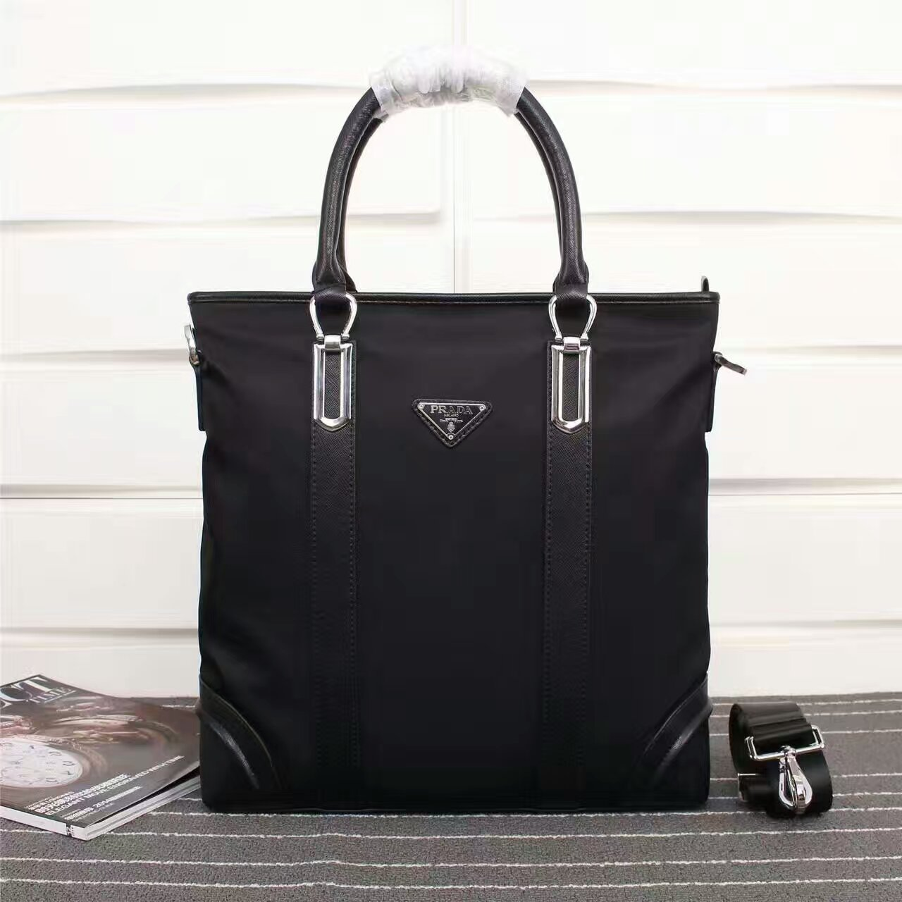 Prada Men's Canvas Tote Bag 0017 Black