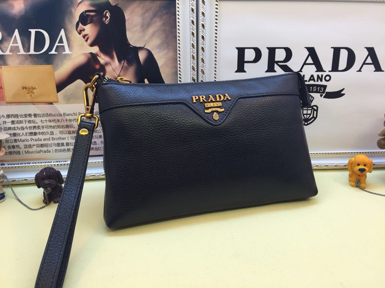 Prada Men's Leather Pouch 3312 Black