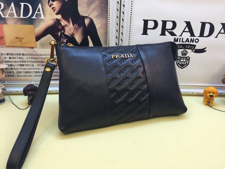 Prada Men's Leather Pouch 3313 Black