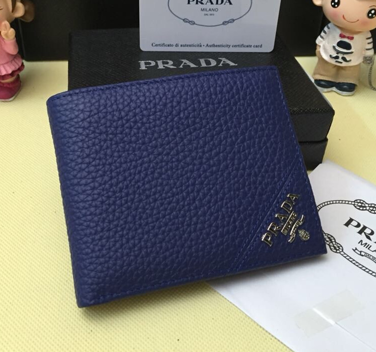 Prada Men's Leather Wallet 0336 Blue