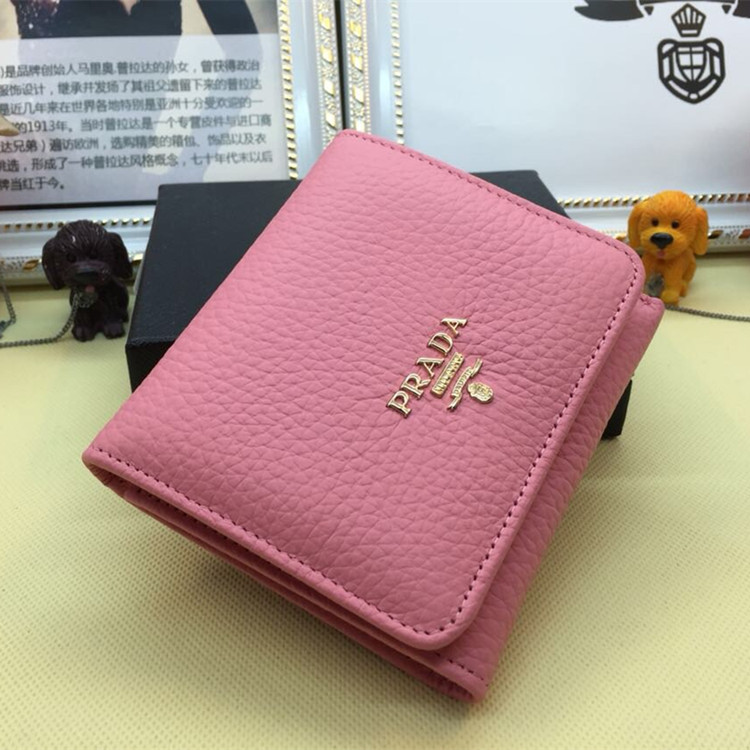 Prada Trifold Leather Wallet 1M0176 Pink