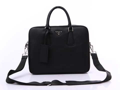 Prada VA0891 Leather Handbag in Black