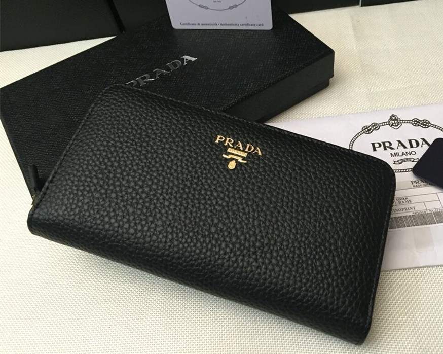beautiful and charming double coupon super popular Prada Zipper Wallet 1M0506 Black [RH0748] : Buy replica ...
