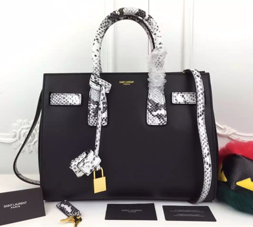 Saint Laurent Sac De Jour Tote Black White Snake 32cm