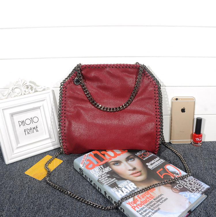 Stella McCartney Falabella Shaggy 25cm Shoulder Bag Burgundy Gunmetal