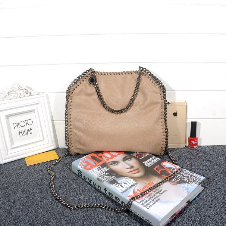 Stella McCartney Falabella Shaggy 25cm Shoulder Bag Khaki Gunmetal