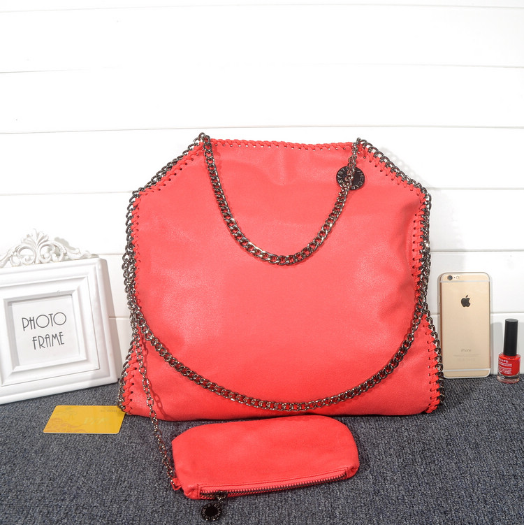 Stella McCartney Falabella Shaggy 37cm Shoulder Bag Watermelon Red Gunmetal