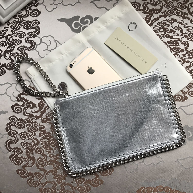 Stella McCartney Small Pouch Clutch Silver