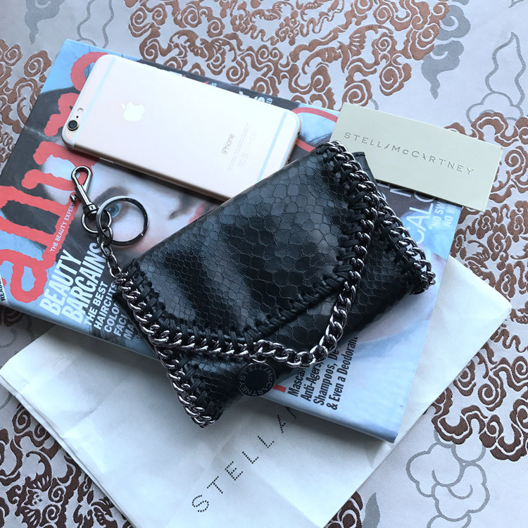 Stella McCartney Small Pouch Clutch Snake Black