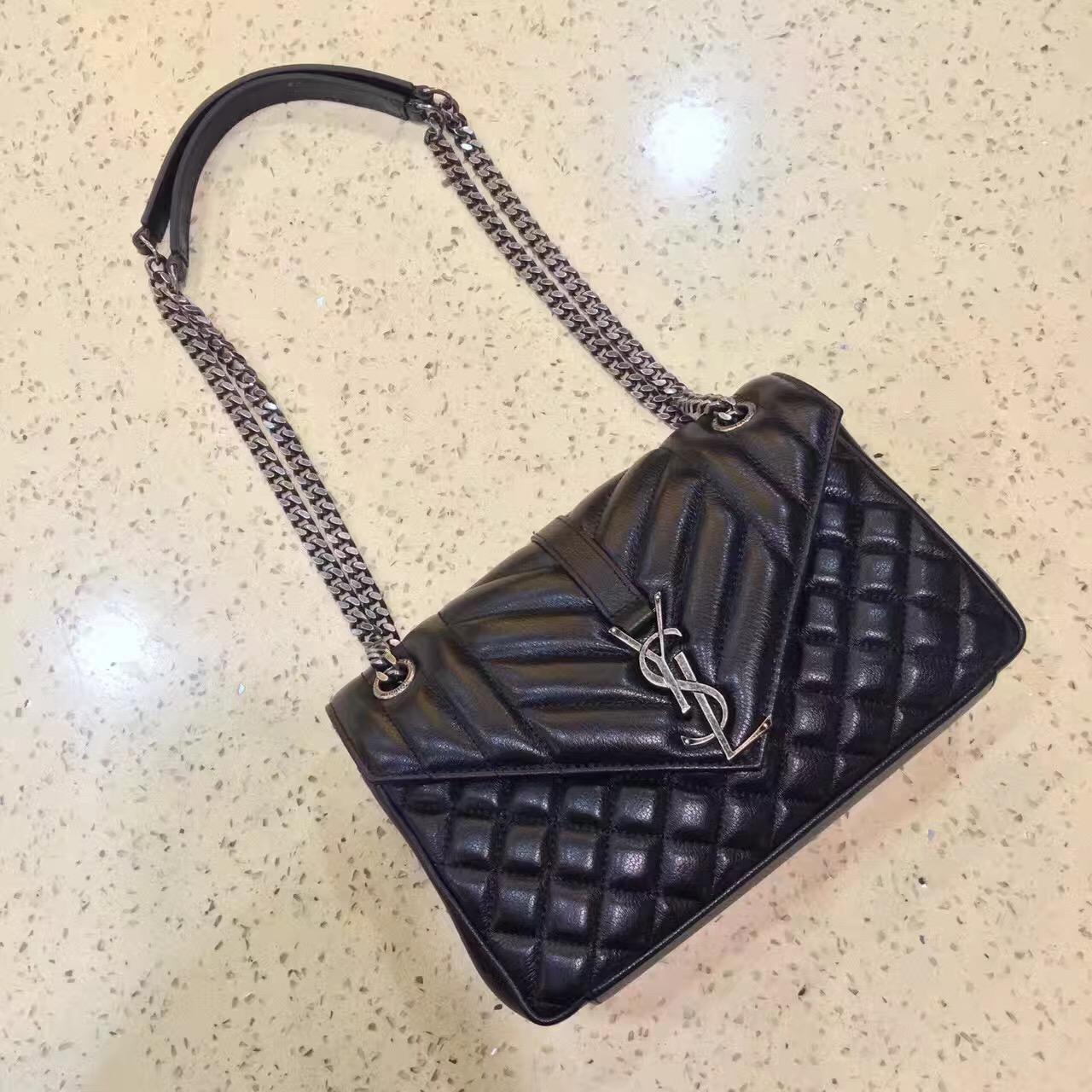 4d672809aa51 Top Quality YSL Envelope Shoulder Bag 23cm Black