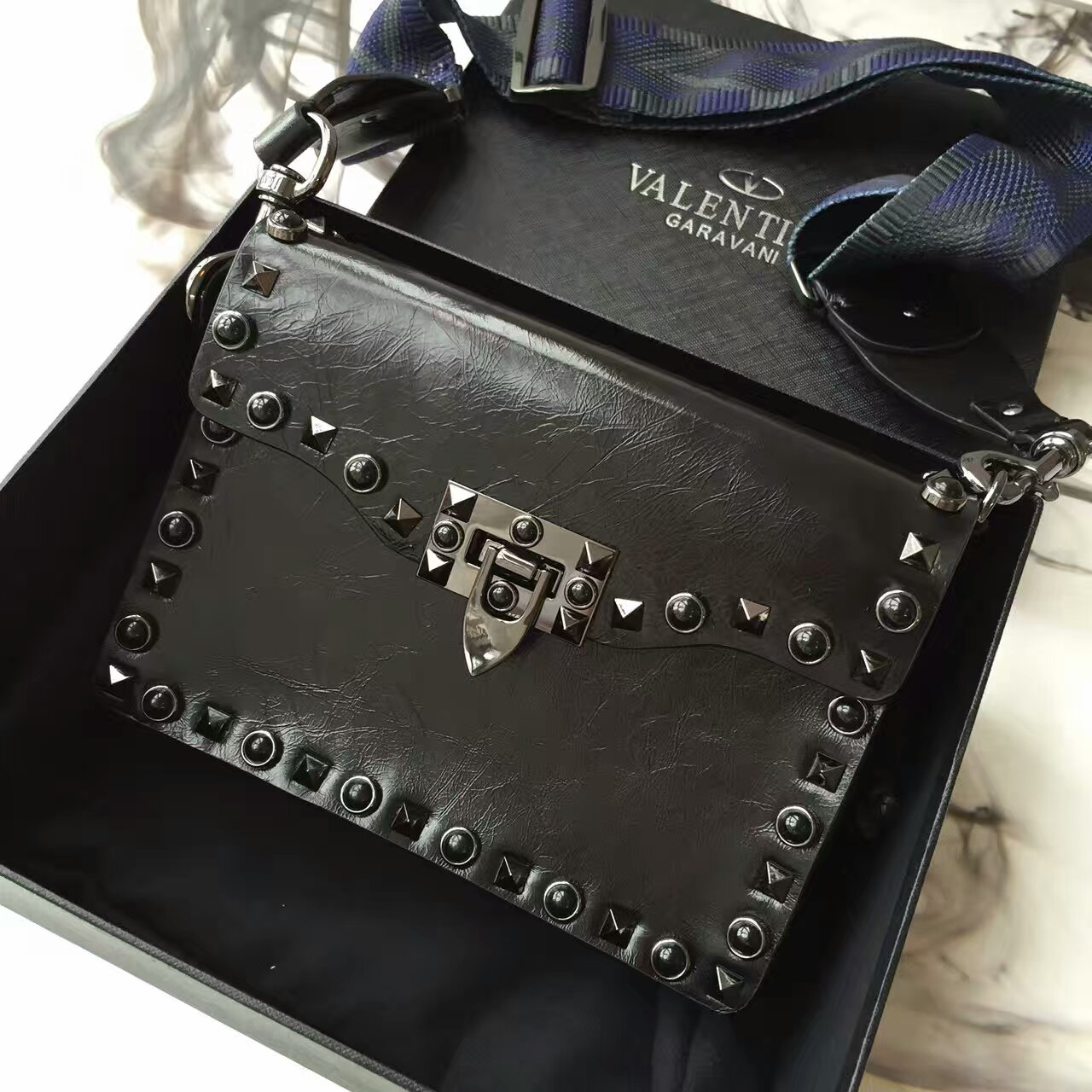 Valentino Guitar Rockstud Rolling Small Black Canvas Strap Crossbody Bag