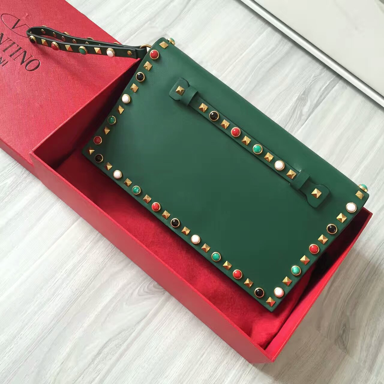 Valentino Rockstud Clutch 28cm Green Colorful Stones