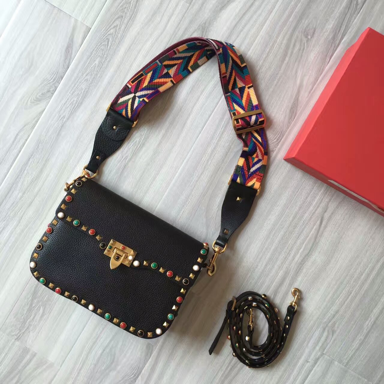 Valentino Guitar Rockstud Rolling CrossBody Bag 26cm Black Colorful Stones