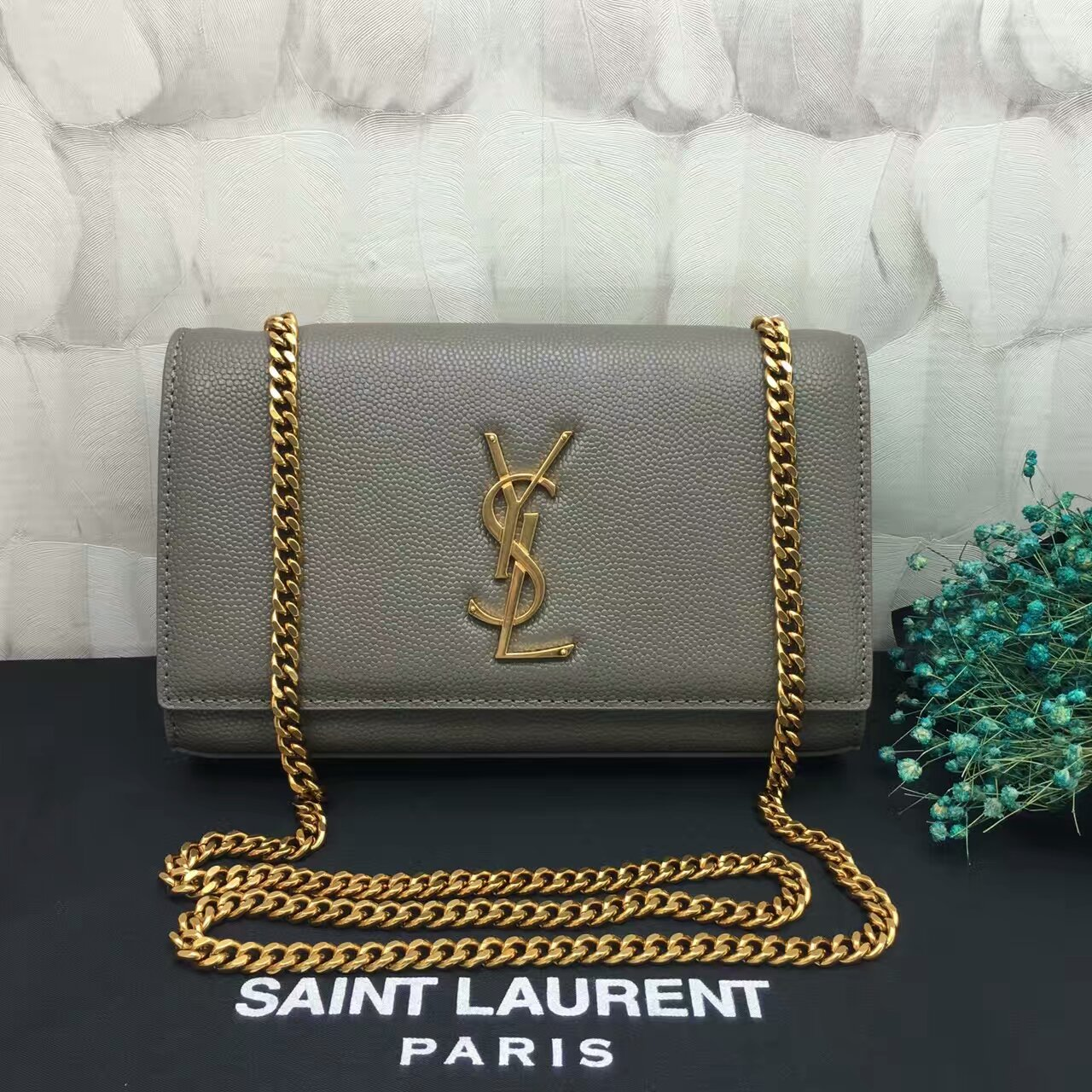 YSL Caviar Leather Chain Bag 22cm Grey Gold