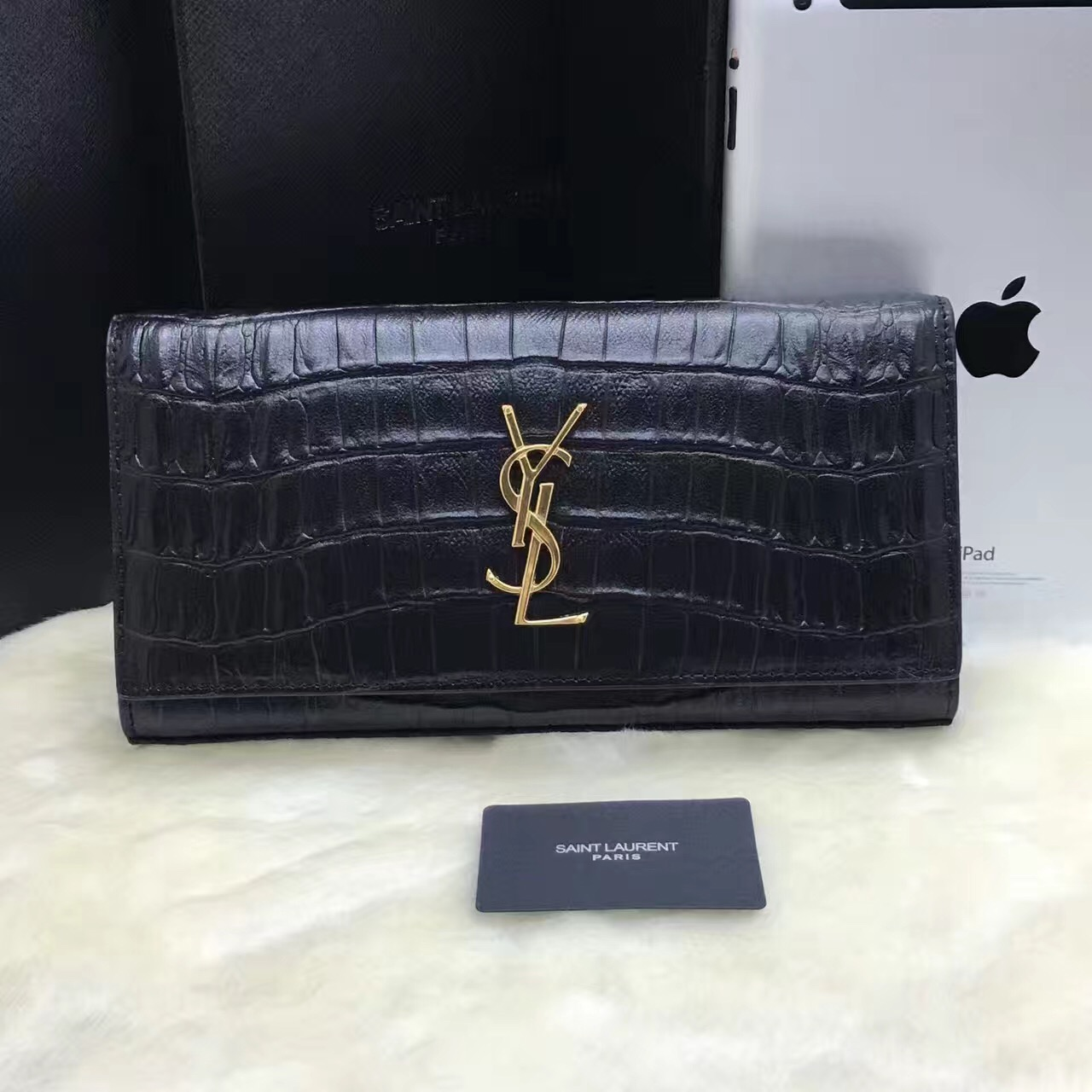 YSL Clutch 27cm Croco Leather Black Gold