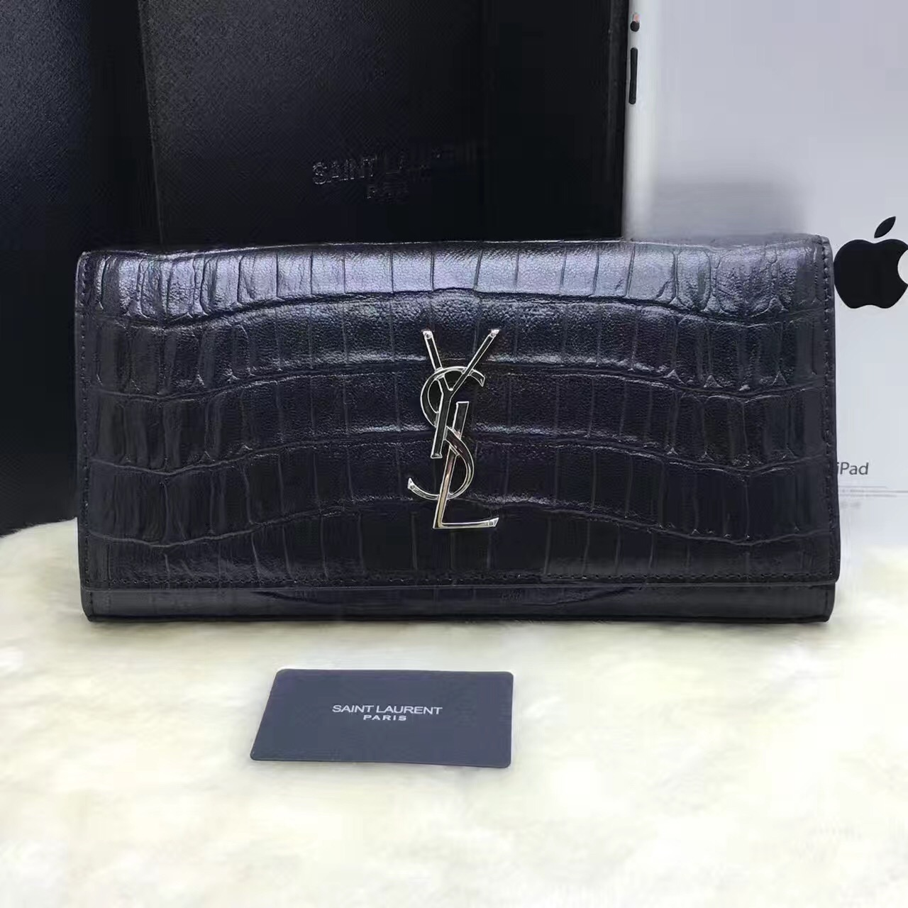 YSL Clutch 27cm Croco Leather Black Silver