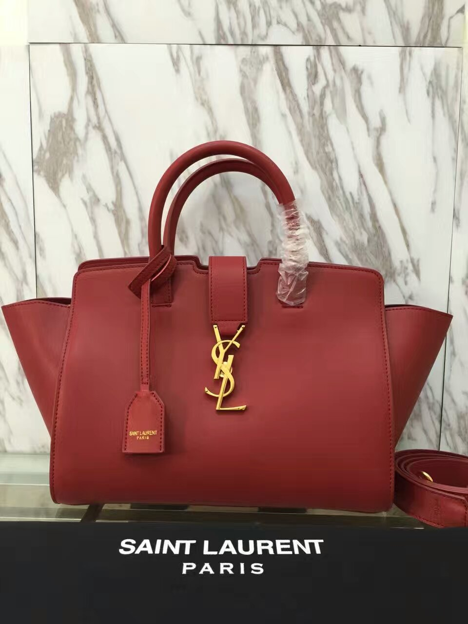 YSL Downtown Cabas Tote 30cm Red
