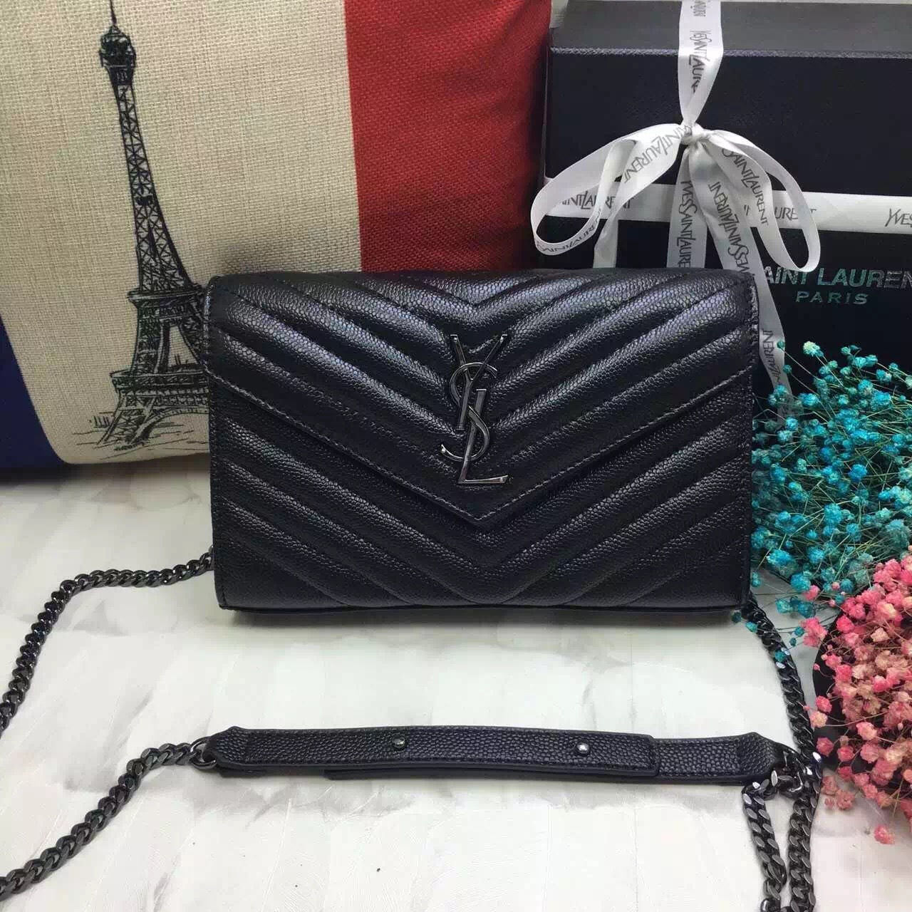 YSL Envelope Bag Caviar Leather Black Gunmetal Chain 23cm