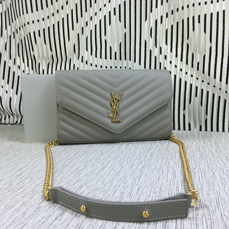 YSL Envelope Chain Bag Caviar Leather Grey 23cm