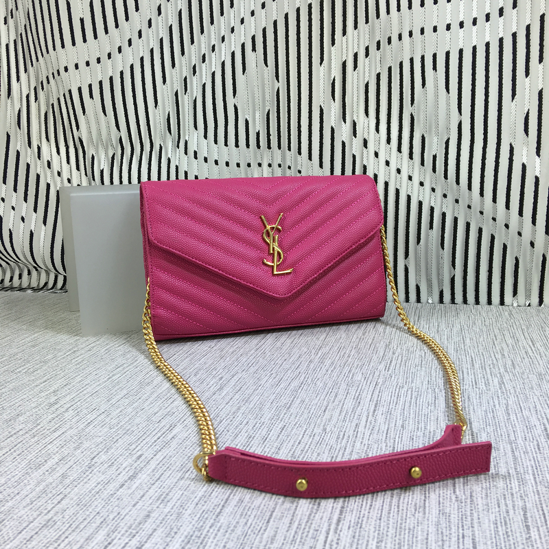 YSL Envelope Chain Bag Caviar Leather Rose 23cm