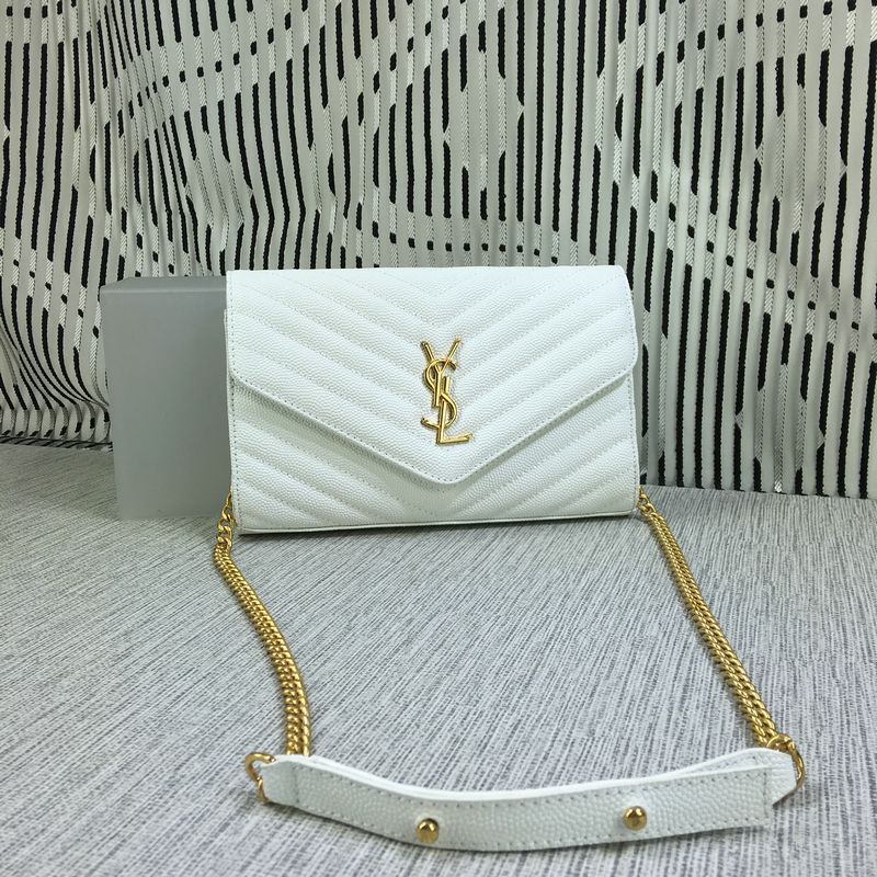 YSL Envelope Chain Bag Caviar Leather White 23cm
