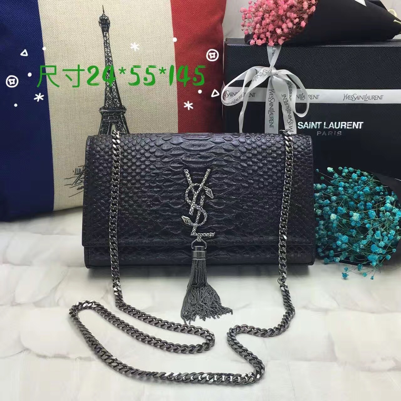 YSL Monogram Tassel Chain Bag 24cm Snake Black