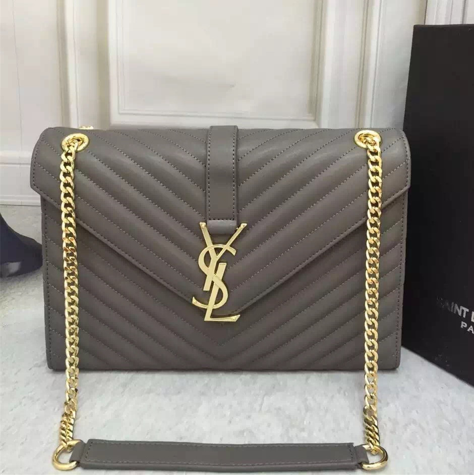 bc532a6e01b3 YSL Saint Laurent Classic Large Monogram Bag Grey 31cm  RH0983 ...