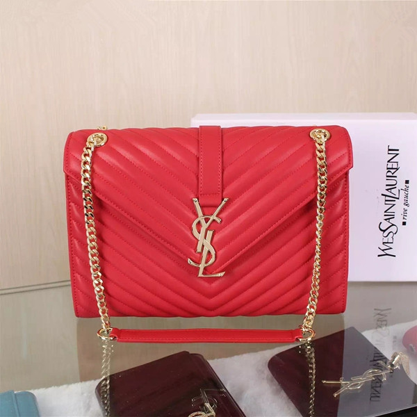 4805bcf48b1e YSL Saint Laurent Classic Large Monogram Bag Red 31cm  RH0984    Buy ...