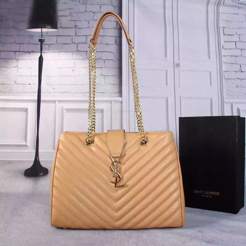 33b176a72fa8 YSL Saint Laurent Monogram Shopping Bag Apricot  RH0992    Buy ...