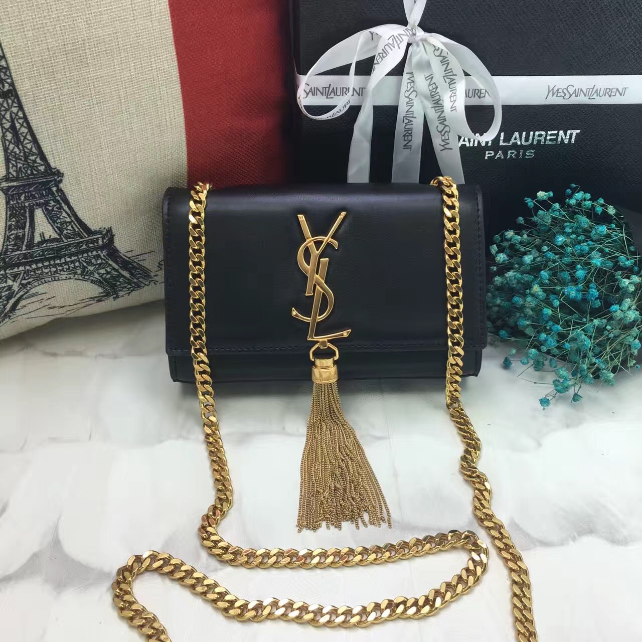 YSL Small Tassel Chain Leather Bag 17cm Black 851c001757a35