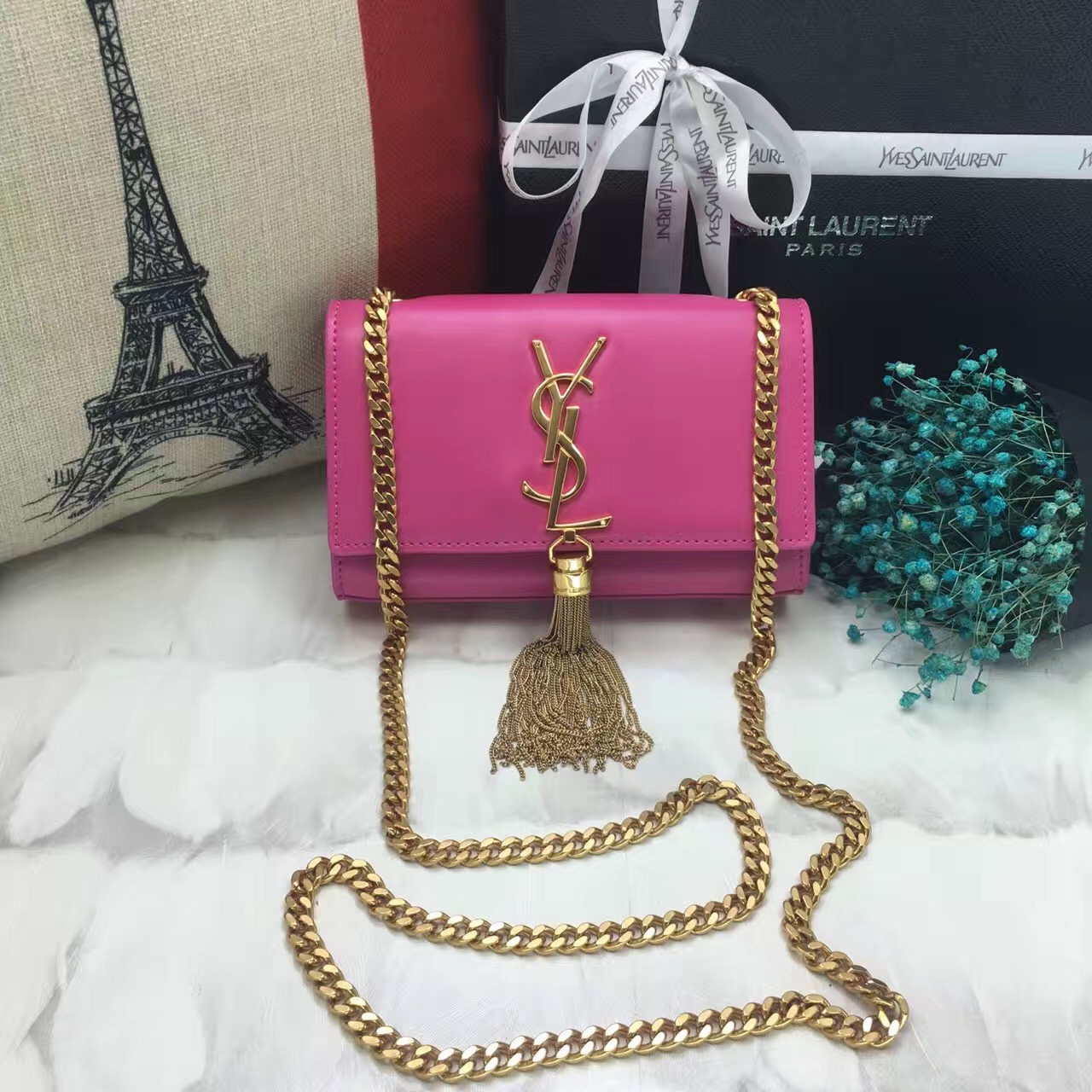 YSL Small Tassel Chain Leather Bag 17cm Hot Pink