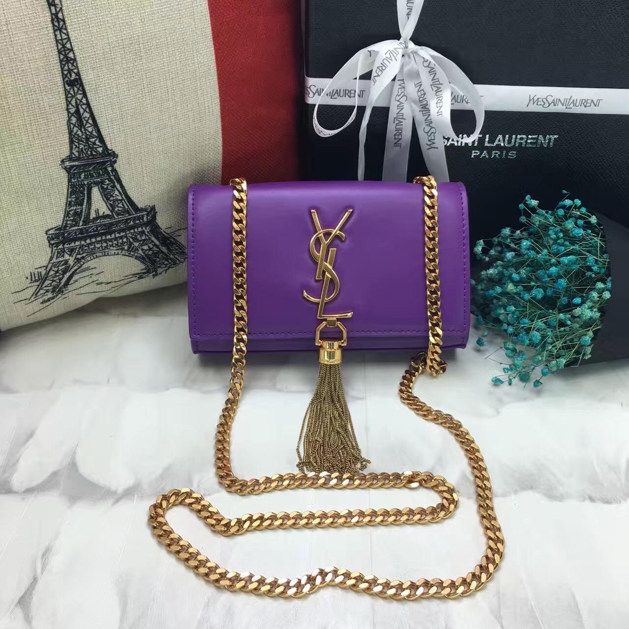 8baba82f36 YSL Small Tassel Chain Leather Bag 17cm Purple