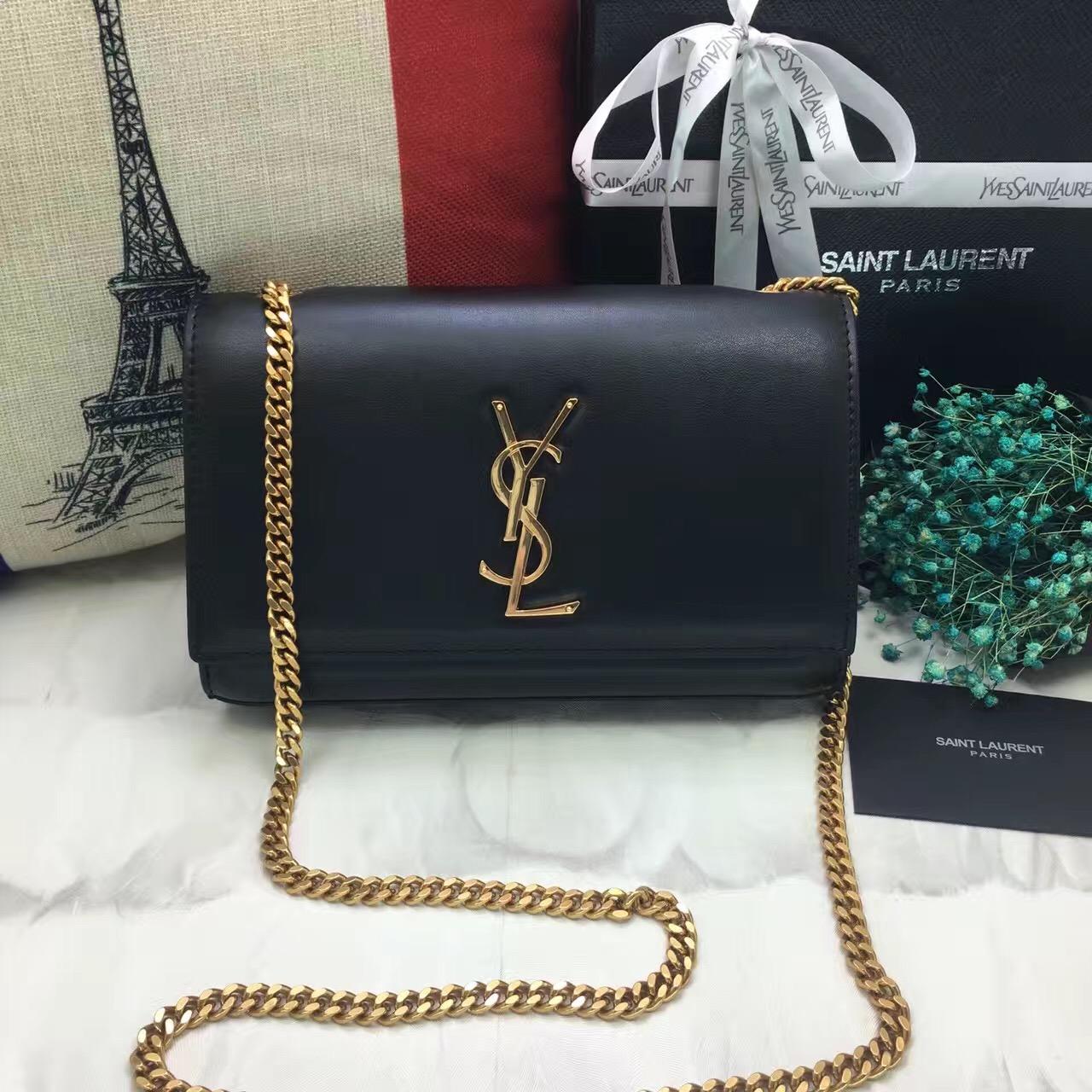 97a481cc17df YSL Smooth Leather Chain Bag 22cm Black Gold  RH1018    Buy replica ...