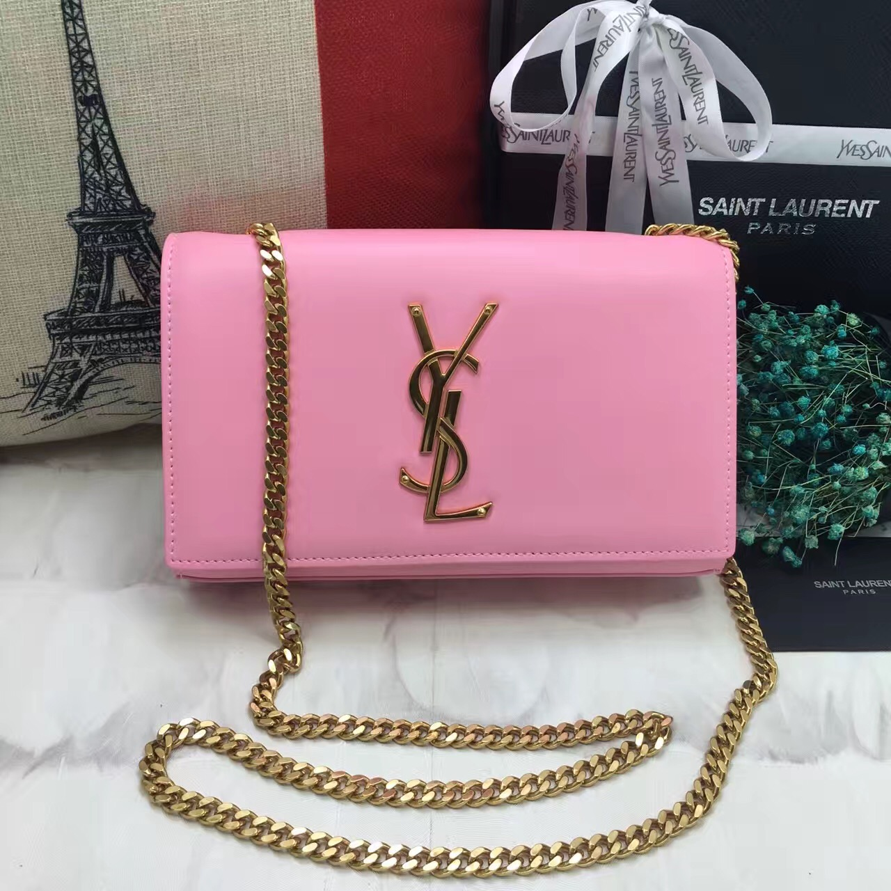 YSL Smooth Leather Chain Bag 22cm Pink