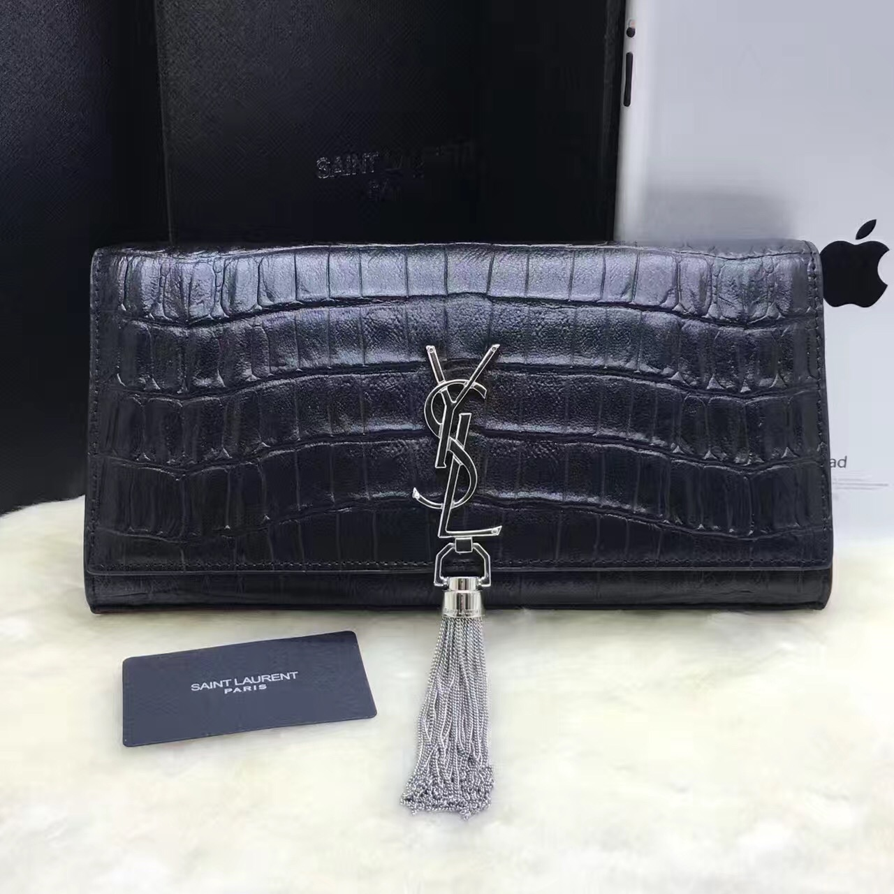 YSL Tassel Clutch 27cm Croco Leather Black Silver