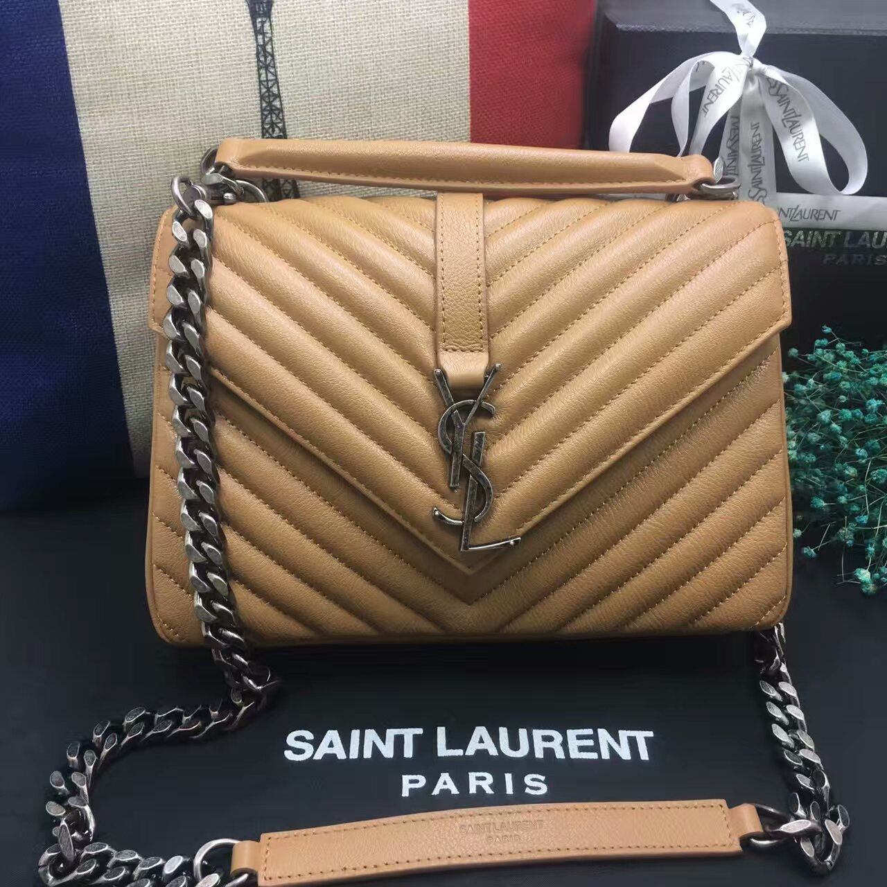 YSL Top Handle Shoulder Bag 24cm Apricot Silver