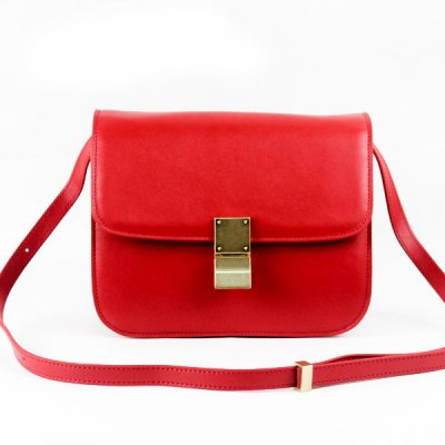 Celine Clasp Classic Box Medium Bag Red