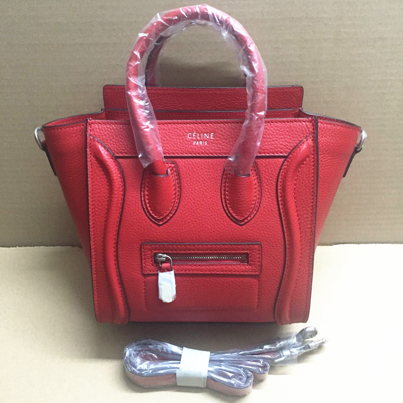 Celine Small Luggage Togo Leather Red Bag